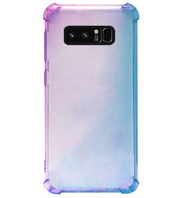 ADEL Siliconen Back Cover Softcase Hoesje voor Samsung Galaxy Note 8 - Kleurovergang Blauw Paars