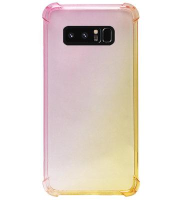 ADEL Siliconen Back Cover Softcase Hoesje voor Samsung Galaxy Note 8 - Kleurovergang Roze Geel