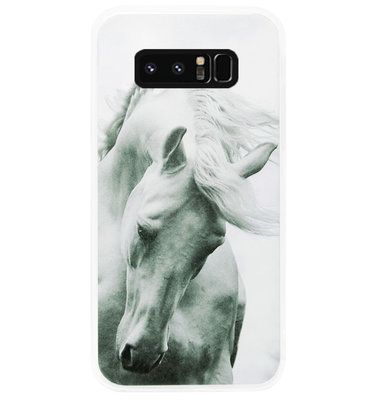 ADEL Siliconen Back Cover Softcase Hoesje voor Samsung Galaxy Note 8 - Paarden Wit