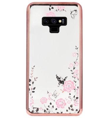 ADEL Siliconen Back Cover Softcase Hoesje voor Samsung Galaxy Note 9 - Glimmend Glitter Vlinder Bloemen Roze