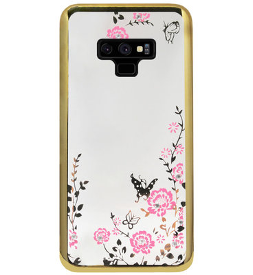 ADEL Siliconen Back Cover Softcase Hoesje voor Samsung Galaxy Note 9 - Glimmend Glitter Vlinder Bloemen Goud