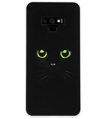 ADEL Siliconen Back Cover Softcase Hoesje voor Samsung Galaxy Note 9 - Katten Zwart Groene Ogen