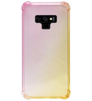 ADEL Siliconen Back Cover Softcase Hoesje voor Samsung Galaxy Note 9 - Kleurovergang Roze Geel
