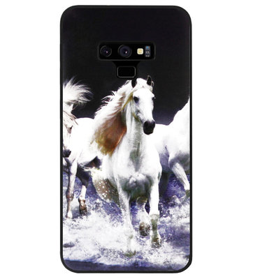 ADEL Siliconen Back Cover Softcase Hoesje voor Samsung Galaxy Note 9 - Paarden Wit