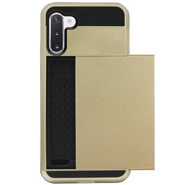 ADEL Kunststof Back Cover Hardcase Hoesje voor Samsung Galaxy Note 10 - Pasjeshouder Goud
