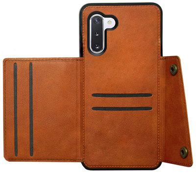 ADEL Kunstleren Back Cover Pasjeshouder Hoesje voor Samsung Galaxy Note 10 - Bruin