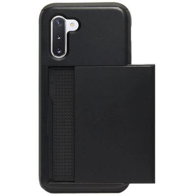 ADEL Kunststof Back Cover Hardcase Hoesje voor Samsung Galaxy Note 10 - Pasjeshouder Zwart