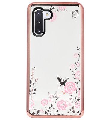ADEL Siliconen Back Cover Softcase Hoesje voor Samsung Galaxy Note 10 - Glimmend Glitter Vlinder Bloemen Roze
