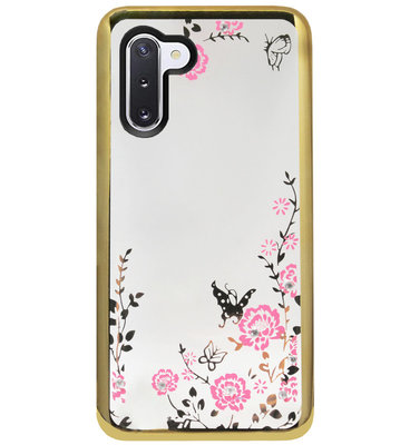 ADEL Siliconen Back Cover Softcase Hoesje voor Samsung Galaxy Note 10 - Glimmend Glitter Vlinder Bloemen Goud