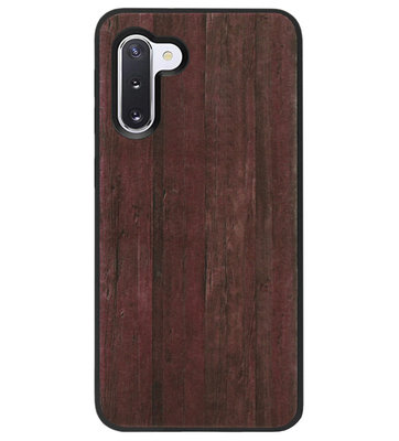 ADEL Siliconen Back Cover Softcase Hoesje voor Samsung Galaxy Note 10 - Hout Design Bruin