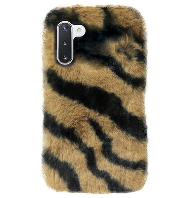 ADEL Siliconen Back Cover Softcase Hoesje voor Samsung Galaxy Note 10 - Luipaard Fluffy Bruin