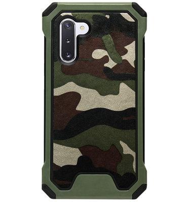 ADEL Kunststof Bumper Case Hoesje voor Samsung Galaxy Note 10 - Camouflage Groen