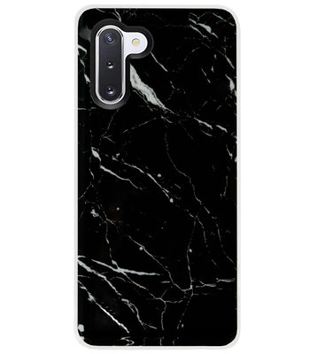 ADEL Siliconen Back Cover Softcase Hoesje voor Samsung Galaxy Note 10 - Marmer Zwart