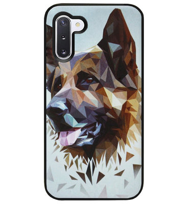ADEL Siliconen Back Cover Softcase Hoesje voor Samsung Galaxy Note 10 - Duitse Herder Hond