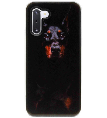ADEL Siliconen Back Cover Softcase Hoesje voor Samsung Galaxy Note 10 - Dobermann Pinscher Hond