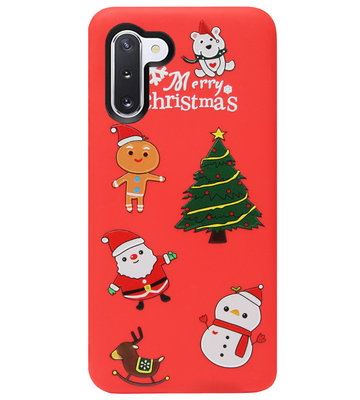 ADEL Siliconen Back Cover Softcase Hoesje voor Samsung Galaxy Note 10 - Kerstmis Rood