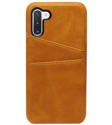 ADEL Kunstleren Back Cover Pasjes Hoesje voor Samsung Galaxy Note 10 - Bruin