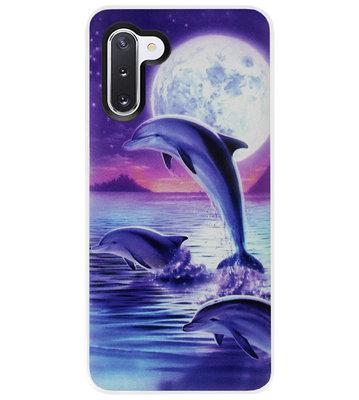 ADEL Kunststof Back Cover Hardcase Hoesje voor Samsung Galaxy Note 10 - Dolfijn Blauw