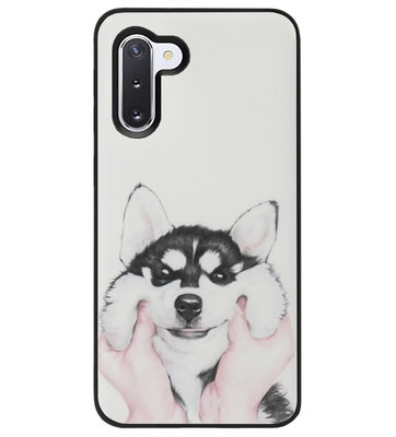 ADEL Siliconen Back Cover Softcase Hoesje voor Samsung Galaxy Note 10 - Husky Hond