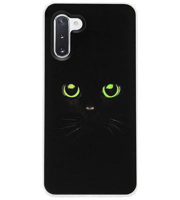 ADEL Siliconen Back Cover Softcase Hoesje voor Samsung Galaxy Note 10 - Katten Zwart Groene Ogen