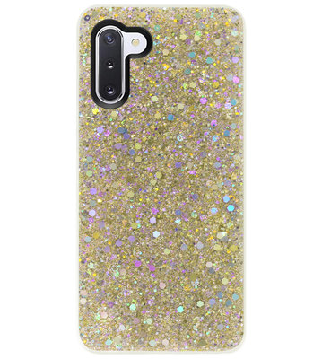 ADEL Premium Siliconen Back Cover Softcase Hoesje voor Samsung Galaxy Note 10 - Bling Bling Glitter Goud