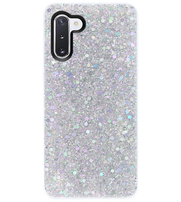 ADEL Premium Siliconen Back Cover Softcase Hoesje voor Samsung Galaxy Note 10 - Bling Bling Glitter Zilver