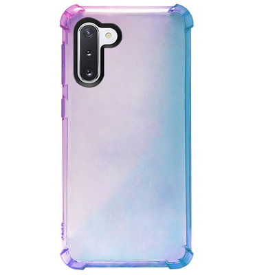 ADEL Siliconen Back Cover Softcase Hoesje voor Samsung Galaxy Note 10 - Kleurovergang Blauw Paars