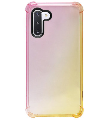 ADEL Siliconen Back Cover Softcase Hoesje voor Samsung Galaxy Note 10 - Kleurovergang Roze Geel