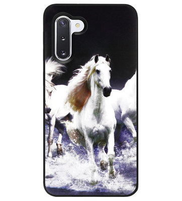 ADEL Siliconen Back Cover Softcase Hoesje voor Samsung Galaxy Note 10 - Paarden Wit