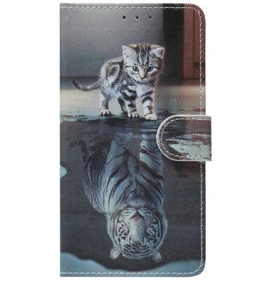 ADEL Kunstleren Book Case Pasjes Portemonnee Hoesje voor Samsung Galaxy Note 10 - Poezen Tijger