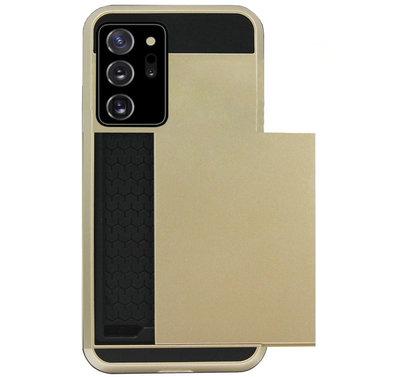 ADEL Kunststof Back Cover Hardcase Hoesje voor Samsung Galaxy Note 20 - Pasjeshouder Goud