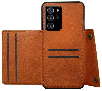 ADEL Kunstleren Back Cover Pasjeshouder Hoesje voor Samsung Galaxy Note 20 - Bruin