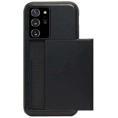 ADEL Kunststof Back Cover Hardcase Hoesje voor Samsung Galaxy Note 20 - Pasjeshouder Zwart