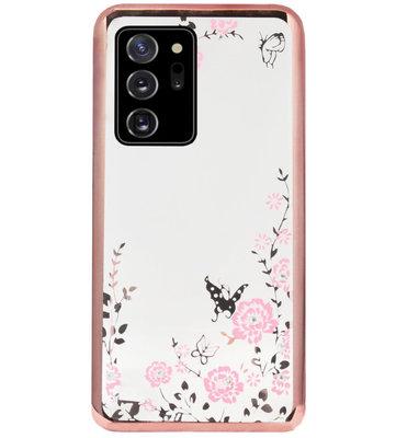 ADEL Siliconen Back Cover Softcase Hoesje voor Samsung Galaxy Note 20 - Glimmend Glitter Vlinder Bloemen Roze