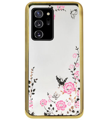 ADEL Siliconen Back Cover Softcase Hoesje voor Samsung Galaxy Note 20 - Glimmend Glitter Vlinder Bloemen Goud
