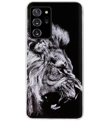 ADEL Siliconen Back Cover Softcase Hoesje voor Samsung Galaxy Note 20 - Leeuw Zwart