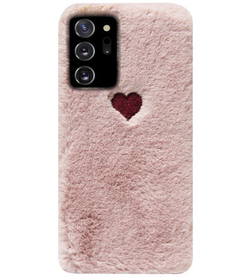 ADEL Siliconen Back Cover Softcase Hoesje voor Samsung Galaxy Note 20 - Hartjes Roze