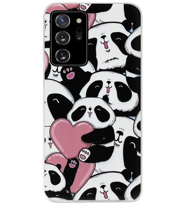 ADEL Siliconen Back Cover Softcase Hoesje voor Samsung Galaxy Note 20 - Panda Hartjes