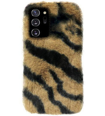 ADEL Siliconen Back Cover Softcase Hoesje voor Samsung Galaxy Note 20 - Luipaard Fluffy Bruin