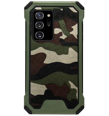 ADEL Kunststof Bumper Case Hoesje voor Samsung Galaxy Note 20 - Camouflage Groen