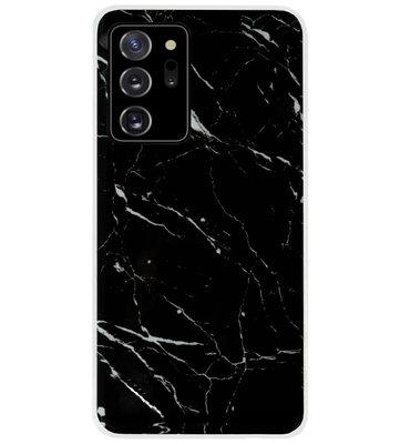 ADEL Siliconen Back Cover Softcase Hoesje voor Samsung Galaxy Note 20 - Marmer Zwart