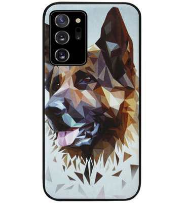 ADEL Siliconen Back Cover Softcase Hoesje voor Samsung Galaxy Note 20 - Duitse Herder Hond