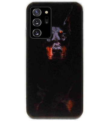 ADEL Siliconen Back Cover Softcase Hoesje voor Samsung Galaxy Note 20 - Dobermann Pinscher Hond