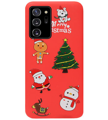 ADEL Siliconen Back Cover Softcase Hoesje voor Samsung Galaxy Note 20 - Kerstmis Rood