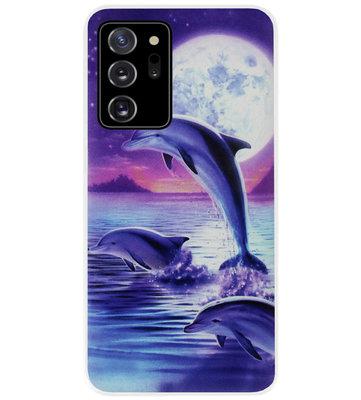 ADEL Kunststof Back Cover Hardcase Hoesje voor Samsung Galaxy Note 20 - Dolfijn Blauw