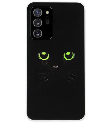 ADEL Siliconen Back Cover Softcase Hoesje voor Samsung Galaxy Note 20 - Katten Zwart Groene Ogen