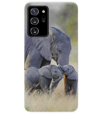 ADEL Siliconen Back Cover Softcase Hoesje voor Samsung Galaxy Note 20 - Olifant Familie