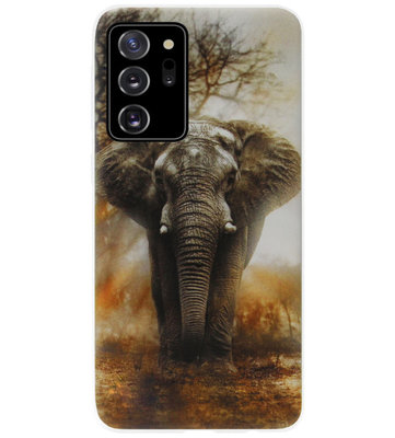 ADEL Siliconen Back Cover Softcase Hoesje voor Samsung Galaxy Note 20 - Olifanten