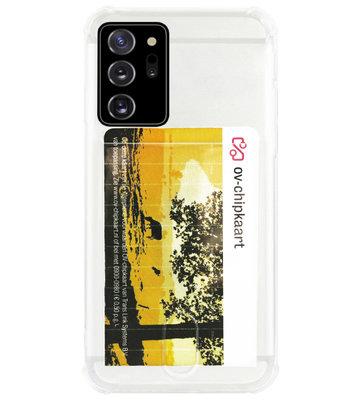 ADEL Siliconen Back Cover Softcase Hoesje voor Samsung Galaxy Note 20 - Pasjeshouder Doorzichtig