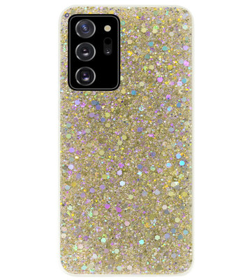 ADEL Premium Siliconen Back Cover Softcase Hoesje voor Samsung Galaxy Note 20 - Bling Bling Glitter Goud